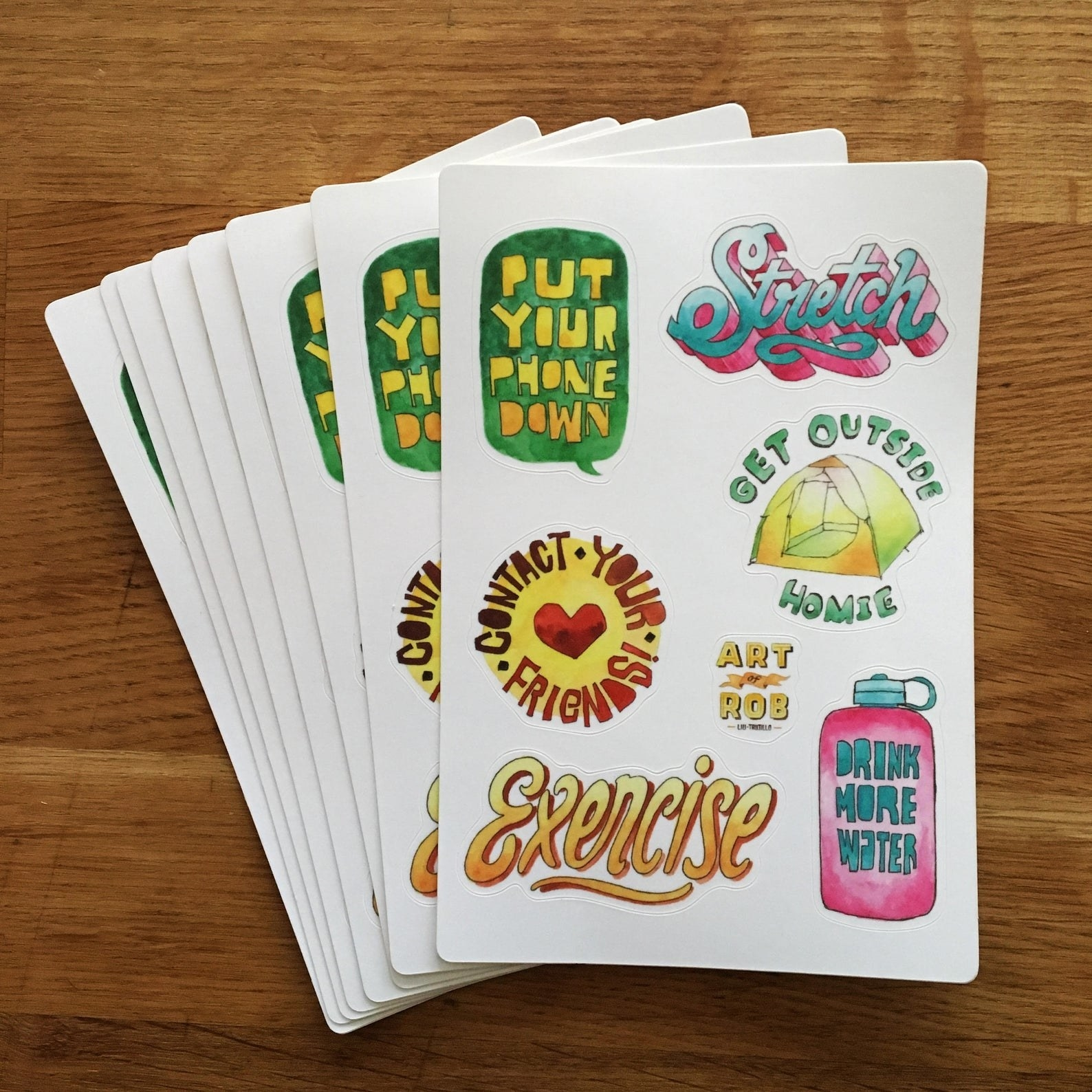 """Illustrated stickers with self-care themes like """"stretch"""" and """"drink more water"""""""