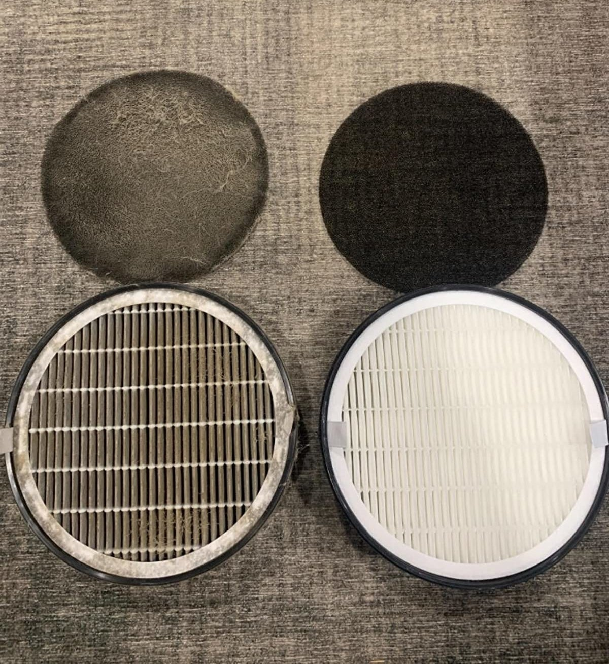 Reviewer's photo of their dirty filter after use on the left and a clean filter on the right