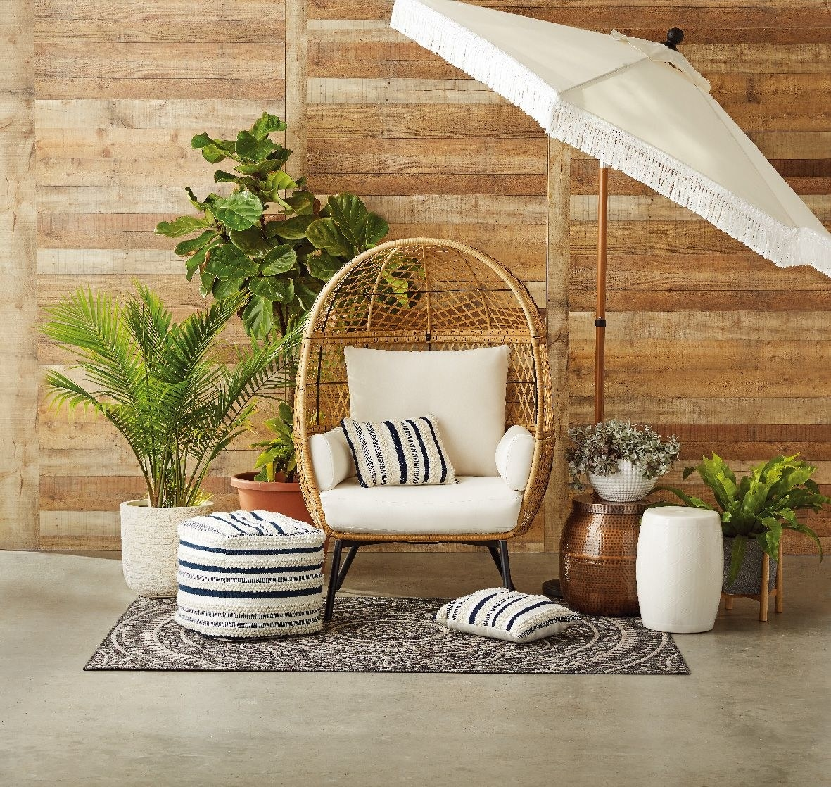 The rounded wicker chair