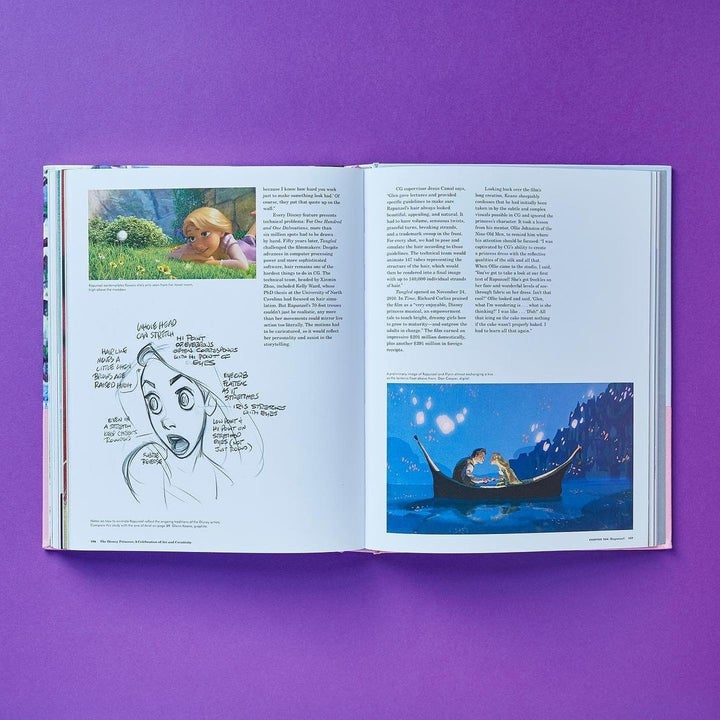 the inside cover opened to a page about rapunzel and tangled