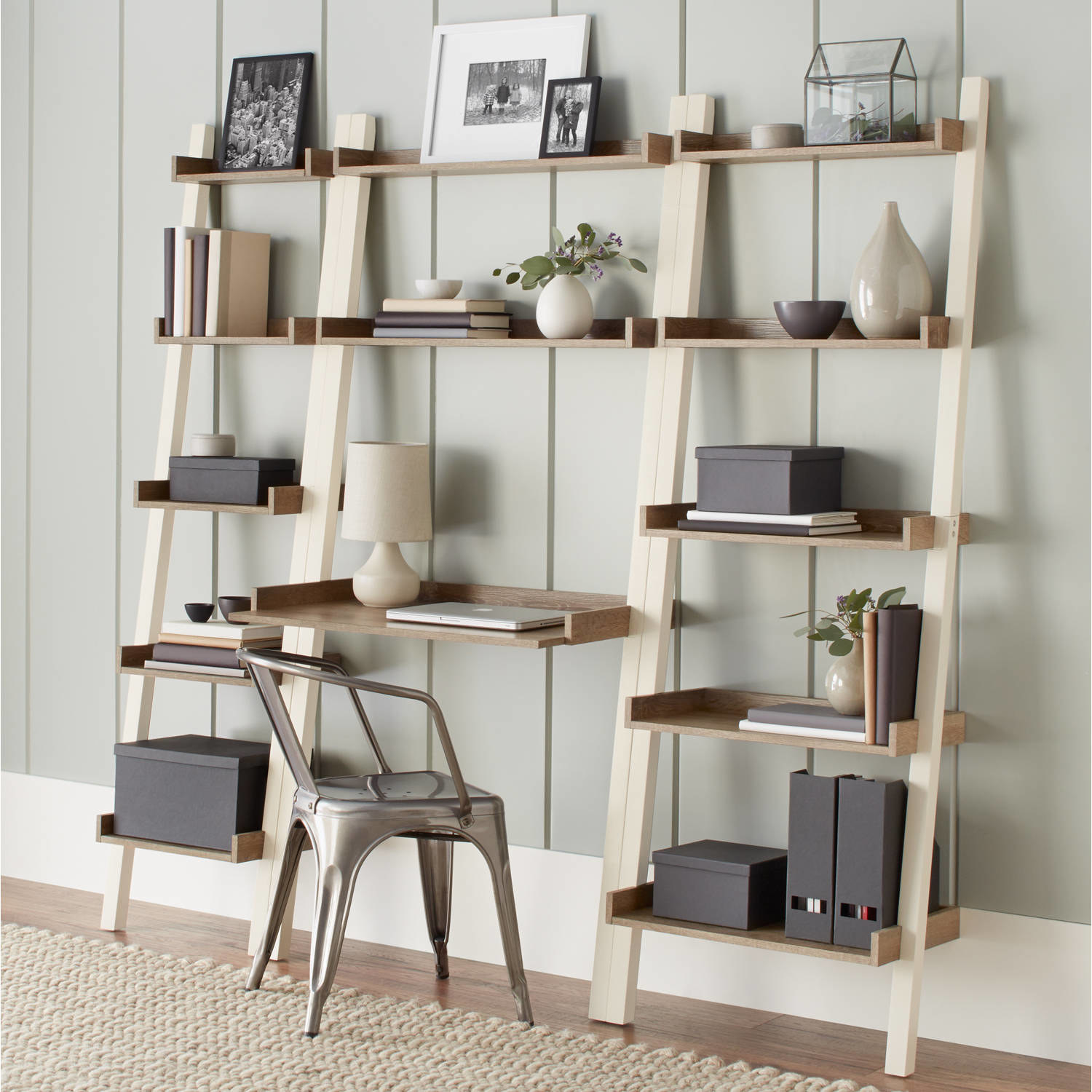 Wooden leaning desk with shelf attachments