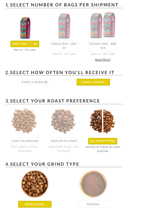 the available coffee preferences according to roast preference and grind type