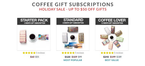 the starter, standard, and coffee lover gift subscriptions