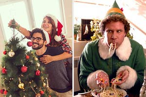 On the left, a couple decorating a Christmas tree, and on the right, Buddy the Elf eating spaghetti with his hands