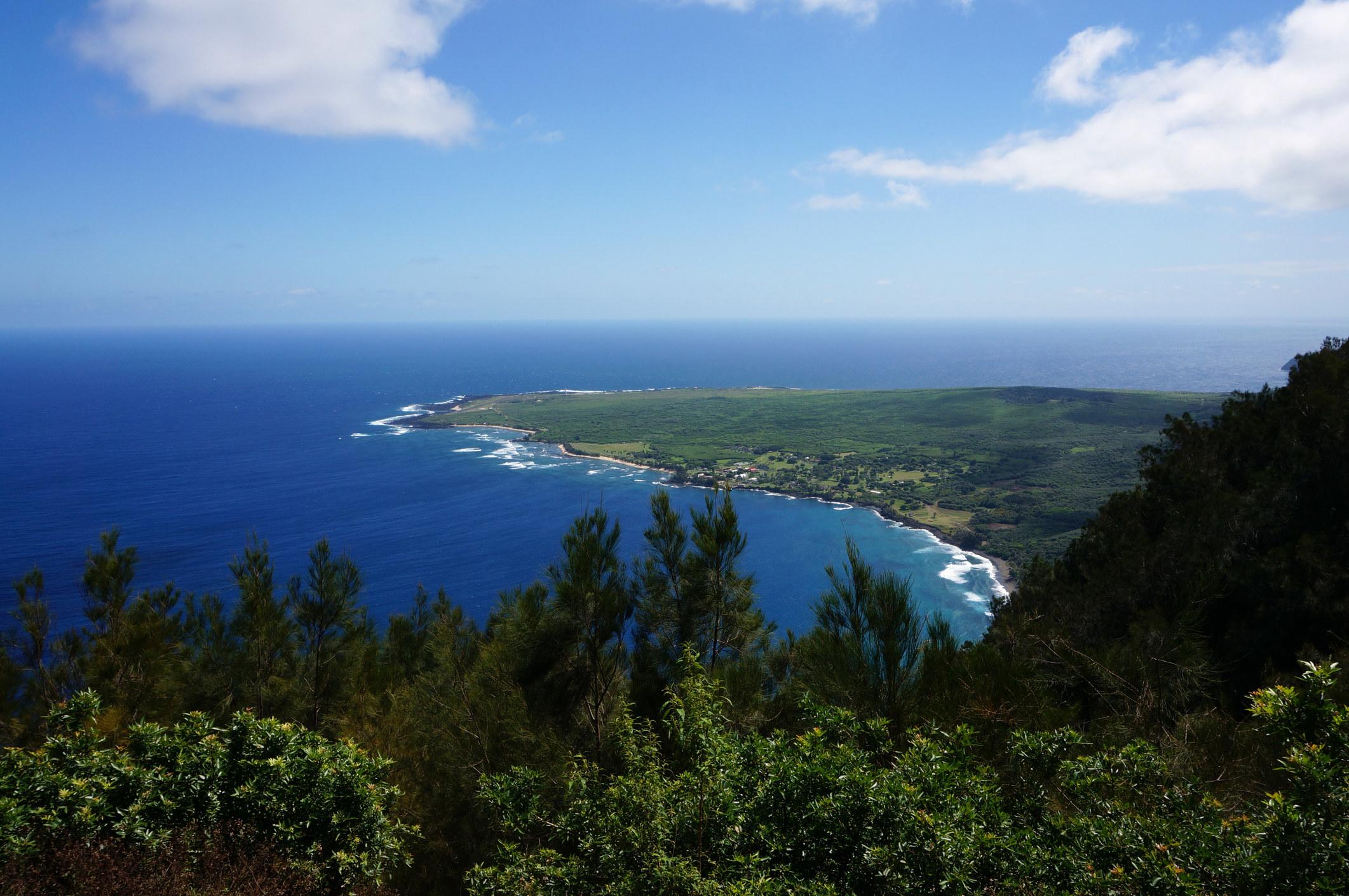 A peninsula sticking out in a dark blue ocean