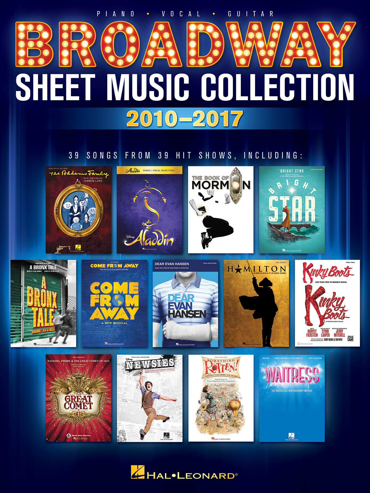 The book cover with 13 images from different musicals that are included in the book