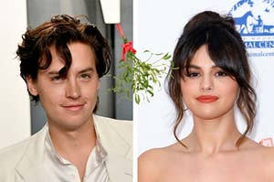 Cole Sprouse and Selena Gomez and mistletoe