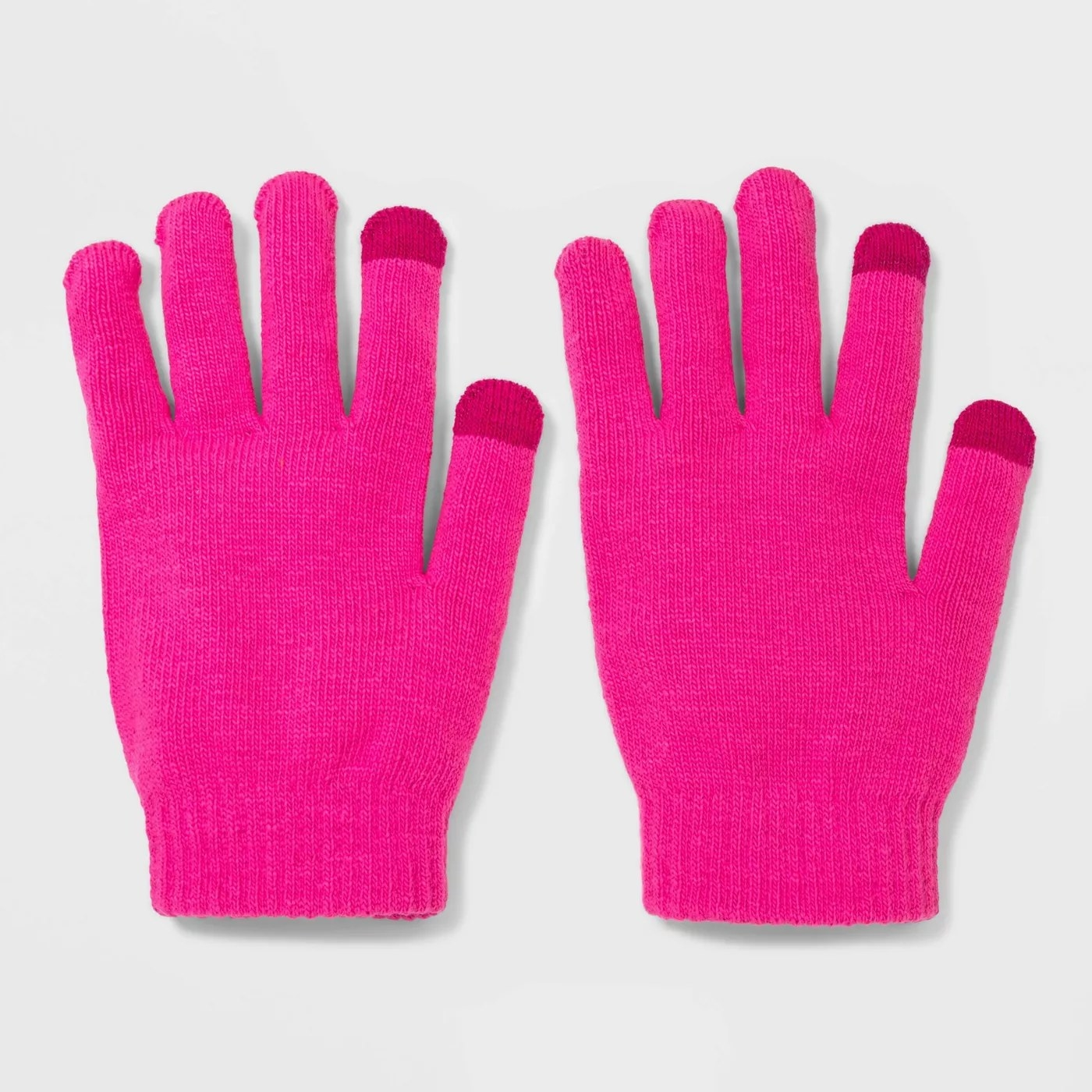 Hot pink gloves with dark pink colored finger tips
