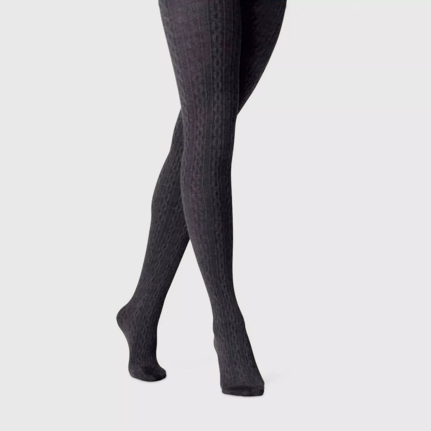 Gray sweater textured tights.