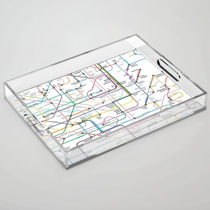 The clear acrylic tray with a subway-like design of musical history on the bottom of it