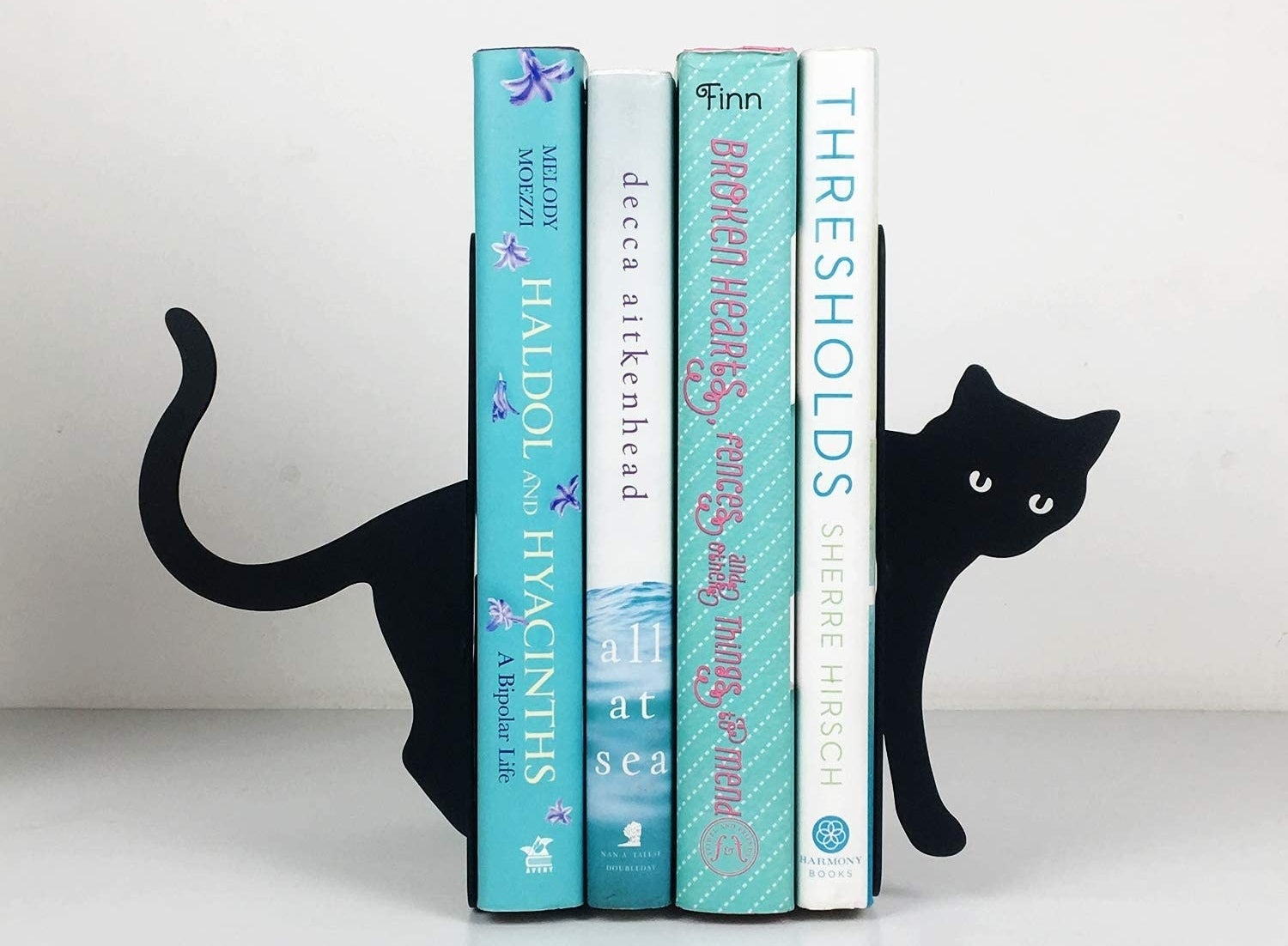 black cat book ends with books held between