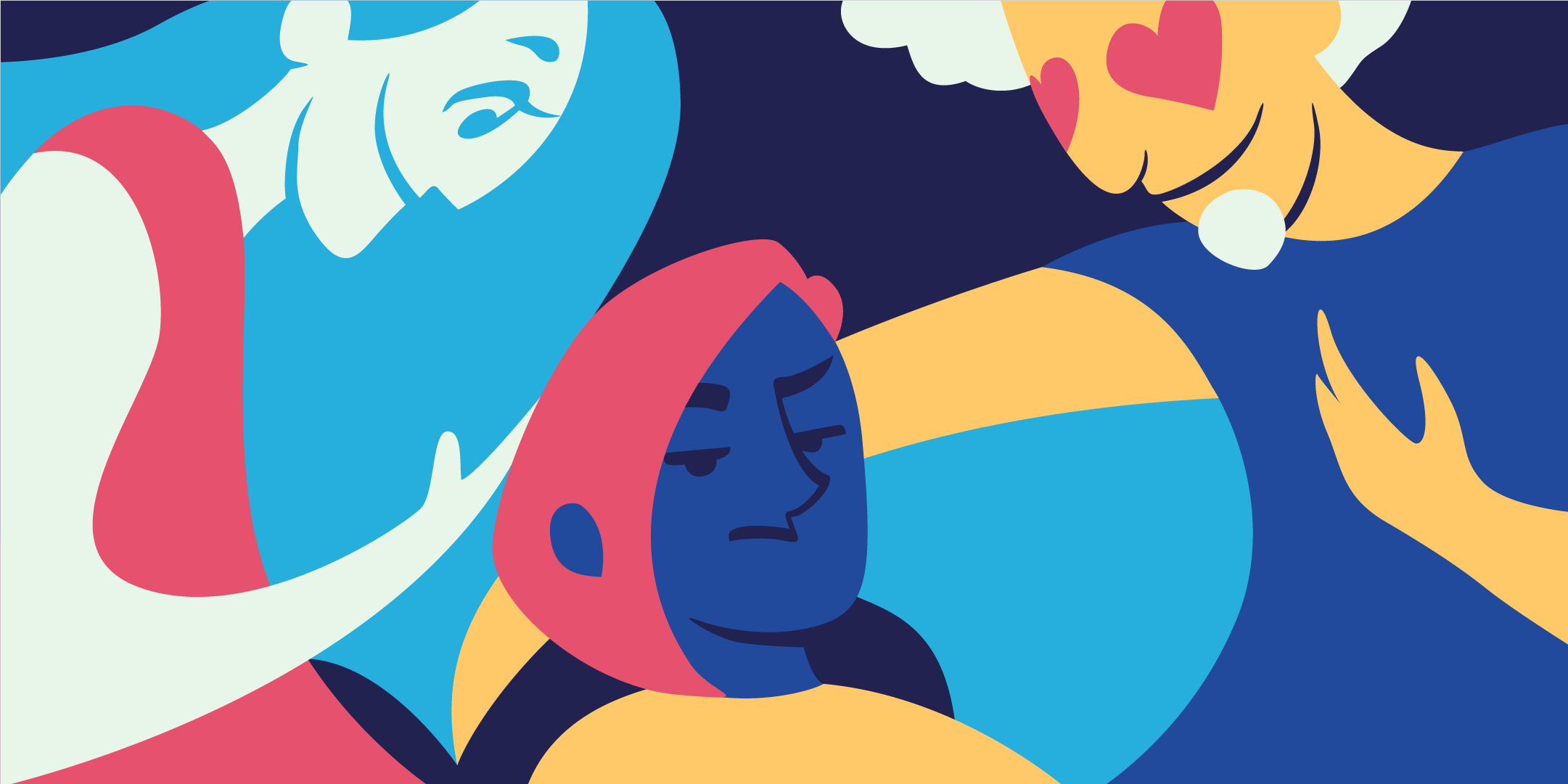 A colourful illustration of three people, one person has hearts on their eyes