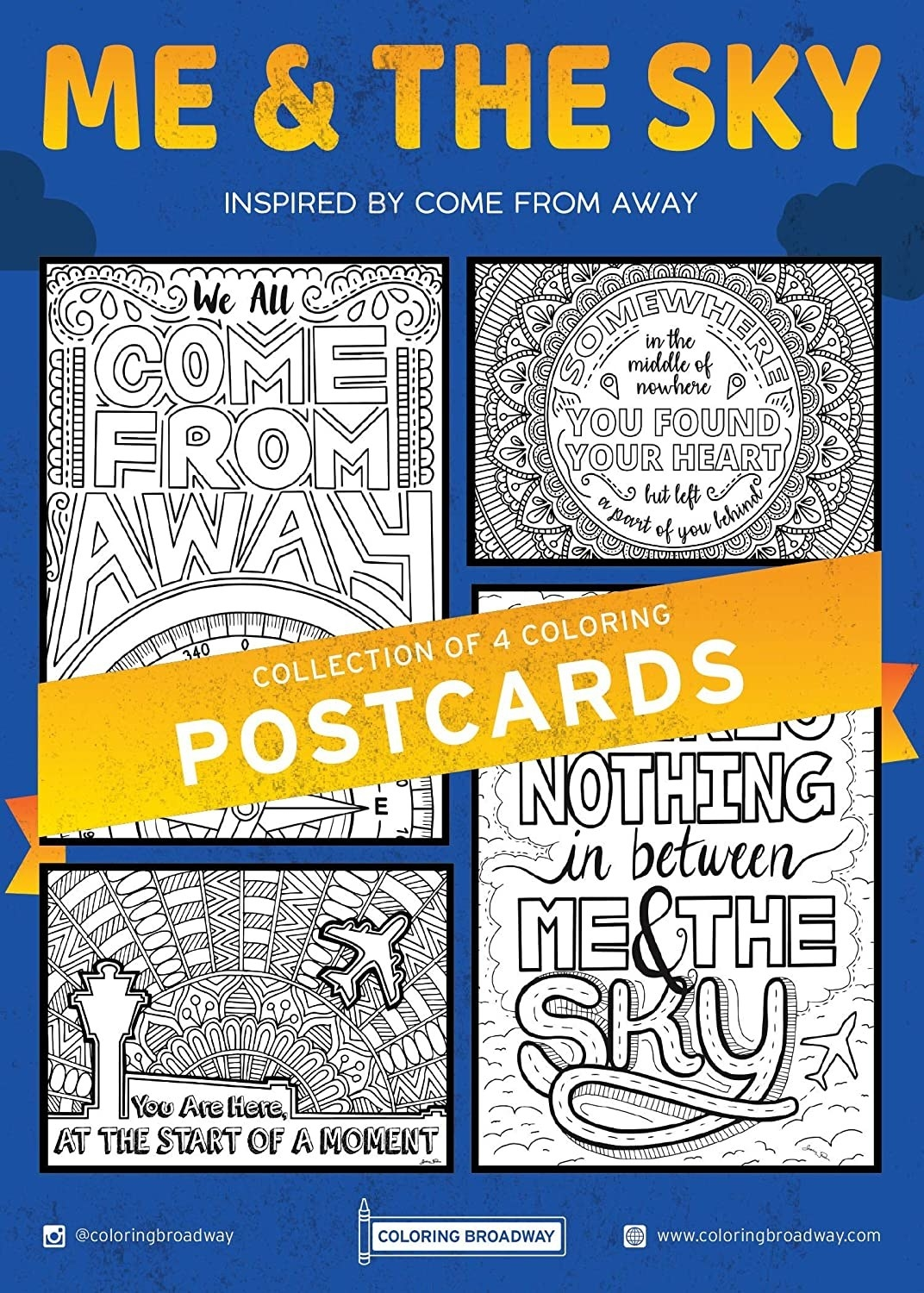 The four postcards included on a blue background