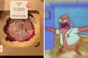 A cherry pie eaten from the middle and an angry Spongebob character looking at it