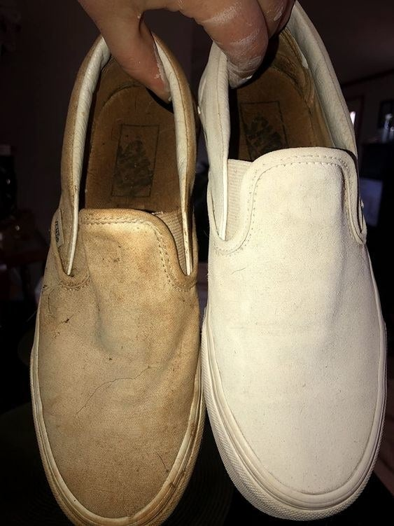 Reviewer's before and after of one filthy Vans sneaker and one perfectly white sneaker