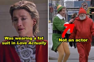 """Side-by-side of Emma Thompson in """"Love Actually"""" and Will Ferrell as Buddy running into a random person in the streets of New York in """"Elf"""""""