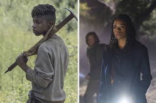 Side by side photos of Angel Theory as her characters in TWD and Kinderfanger