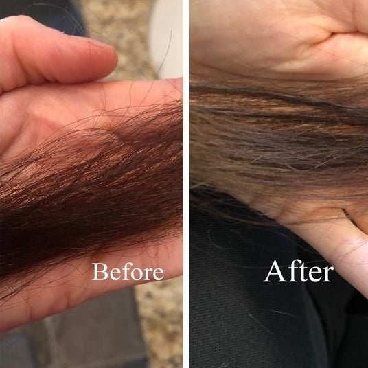 Reviewer's before of dry brittle hair and then healthier looking hair