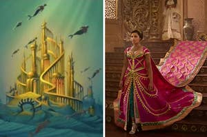 "Atlantica is on the left with Jasmine from ""Aladdin"" walking down the steps in a gown"