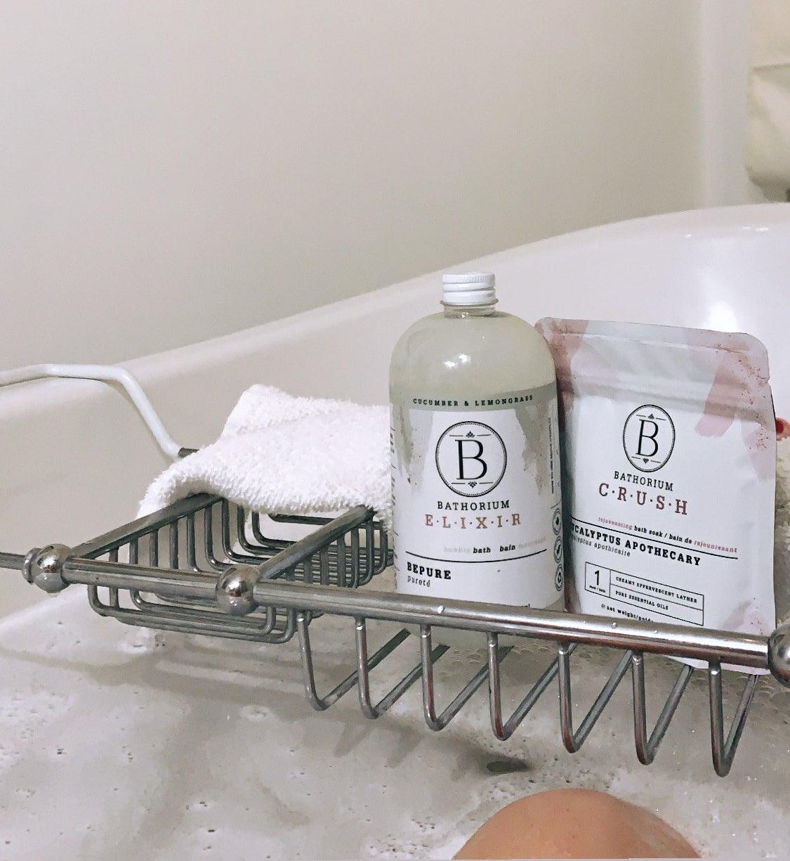 Bathorium products on a bath caddy