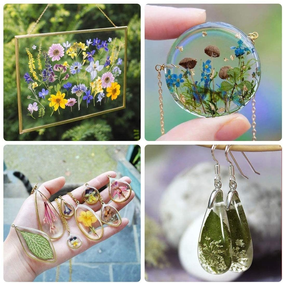 earrings and necklaces made with the resin and flowers
