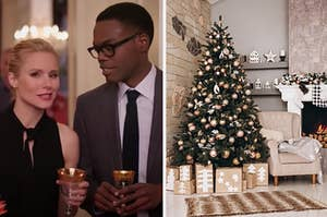 """Two characters from """"The Good Place"""" are on the left with a decorated Christmas tree on the right"""