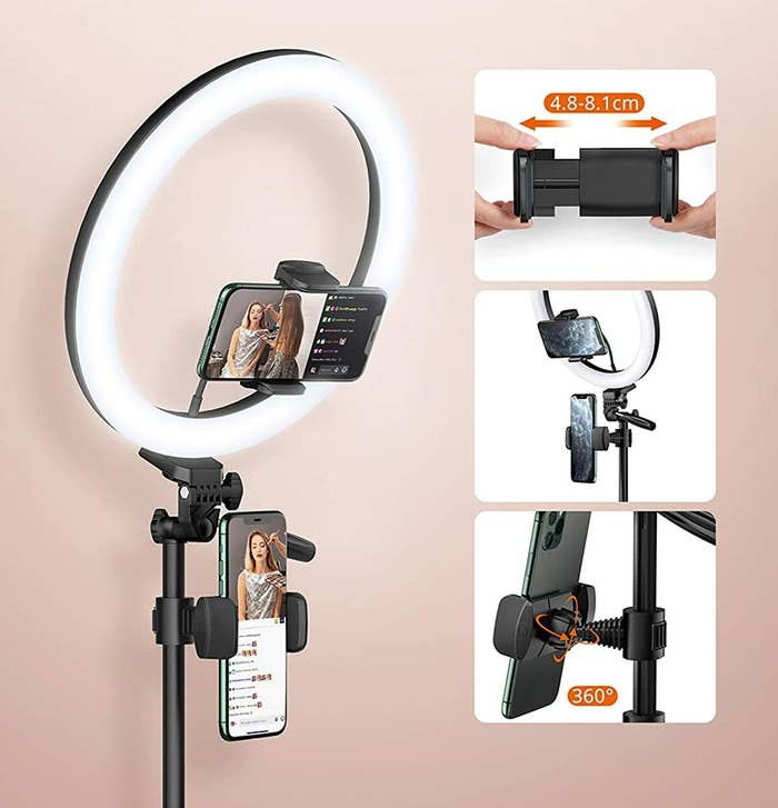 ring light showing phone clipped in two positions