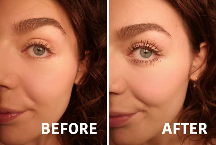 A person before using the mascara and the same person after putting it on, with visibly longer eyelashes