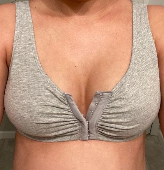 Reviewer wearing the cotton front-close bra