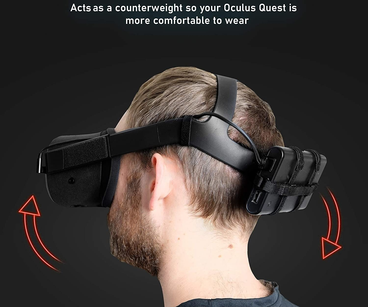 Model wearing the battery pack on the back of the Quest head strap
