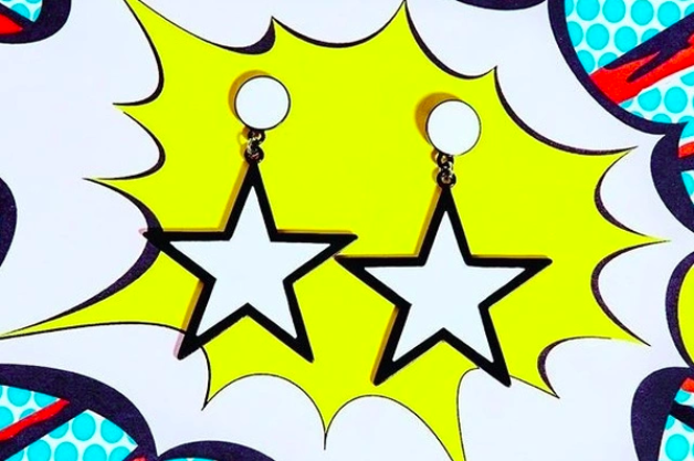 pop art inspired white star earrings