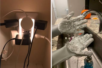 to the left: an outlet with multiple sockets in it, to the right: scrubby gloves