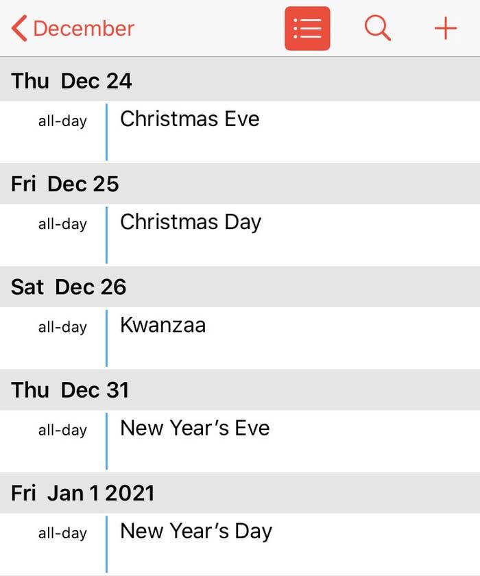Calendar of holidays