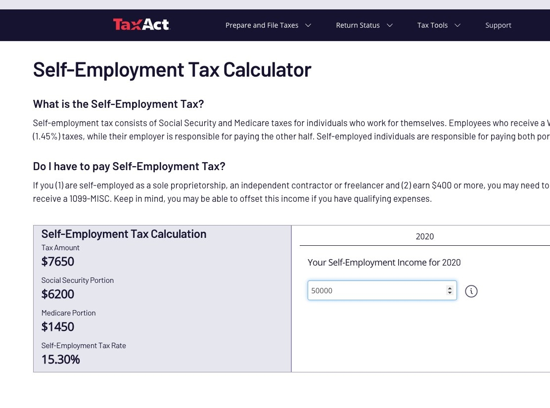 Screenshot of TaxAct page showing self-employment tax calculation