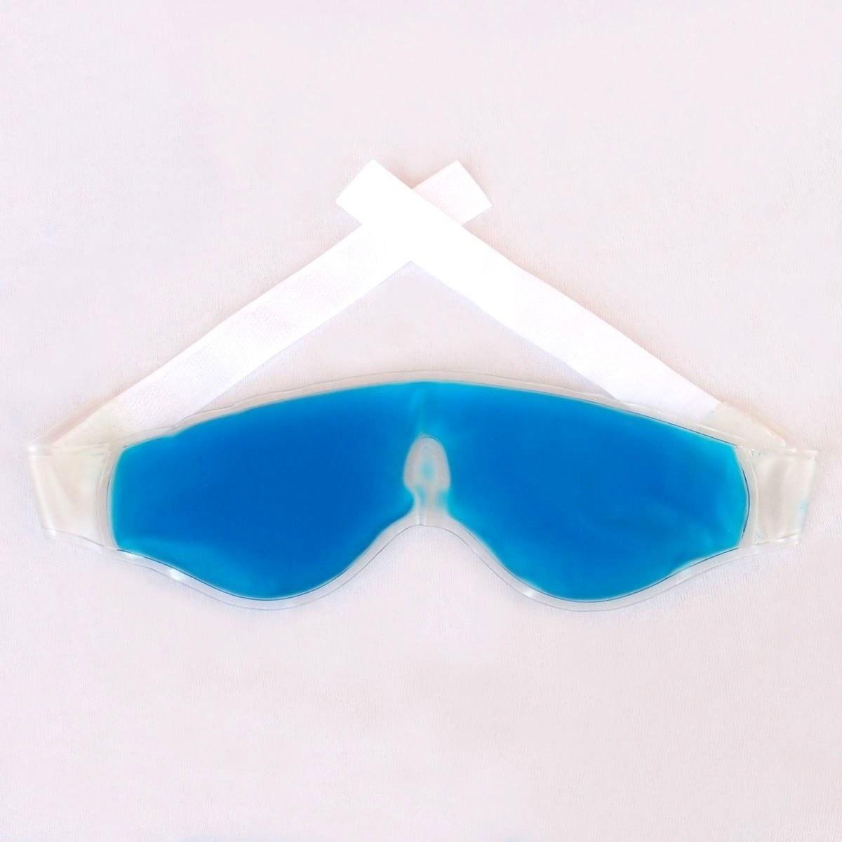 A blue cooling gel eye mask
