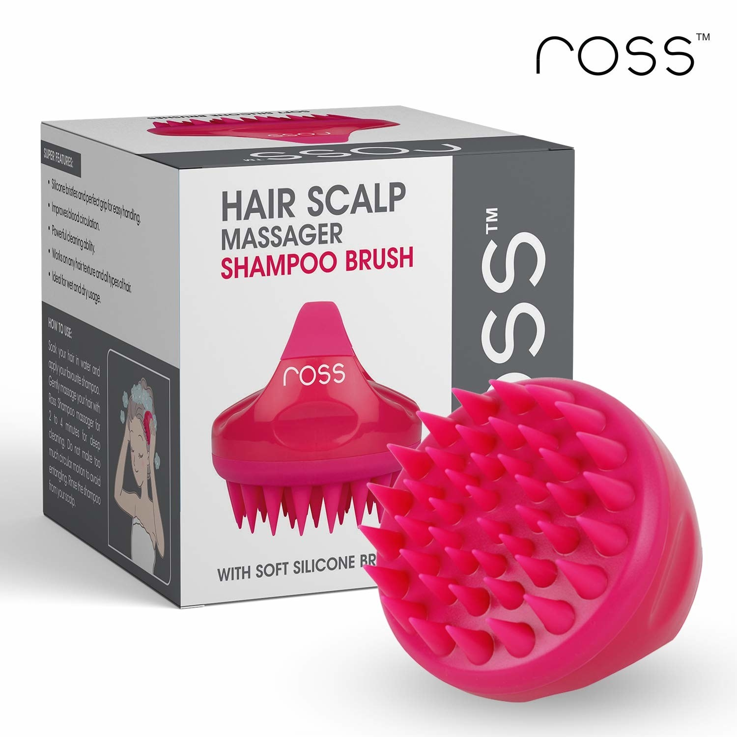 Packaging of the shampoo brush with the brush itself