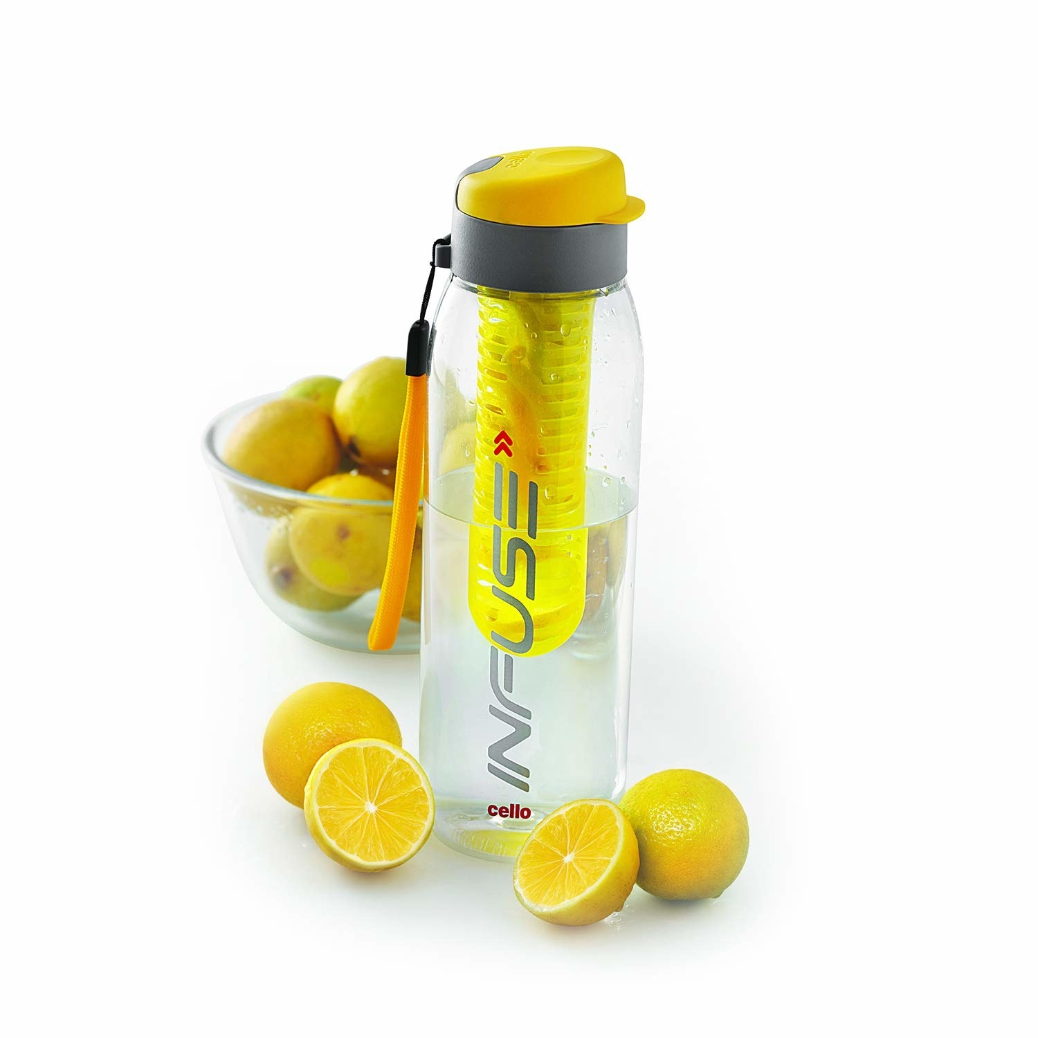 A yellow infuser bottle