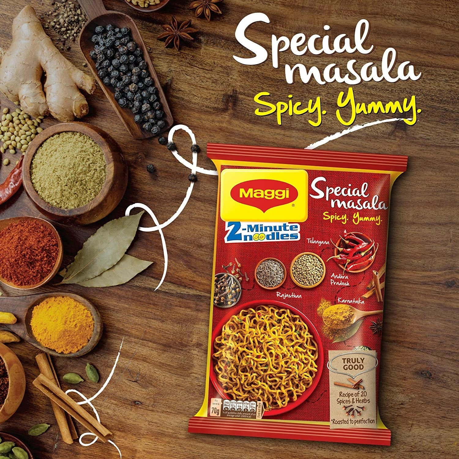 Maggi packet surrounded by spices