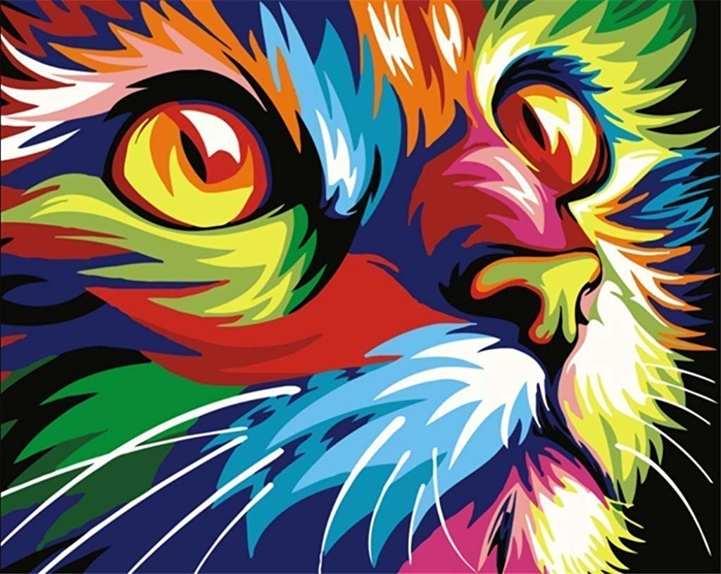 A colourful cat painting