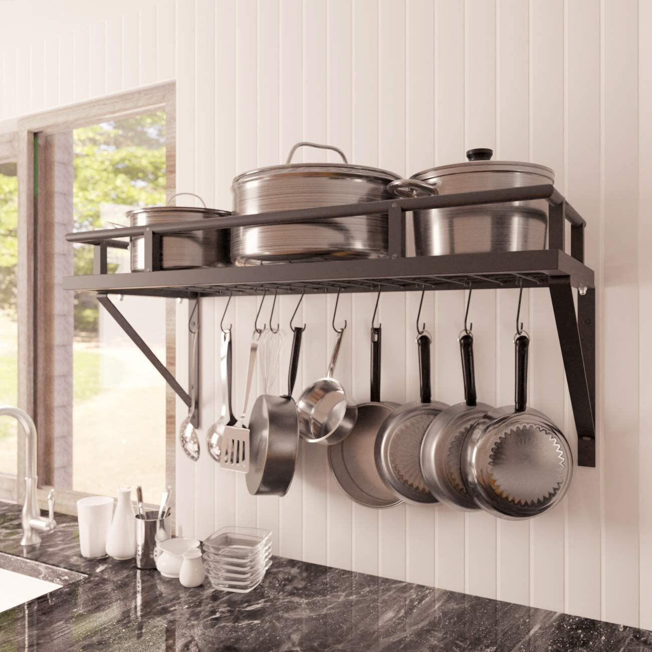 The pots and pans rack over a counter