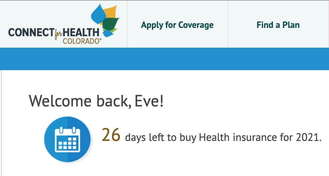 Screenshot of health insurance enrollment page