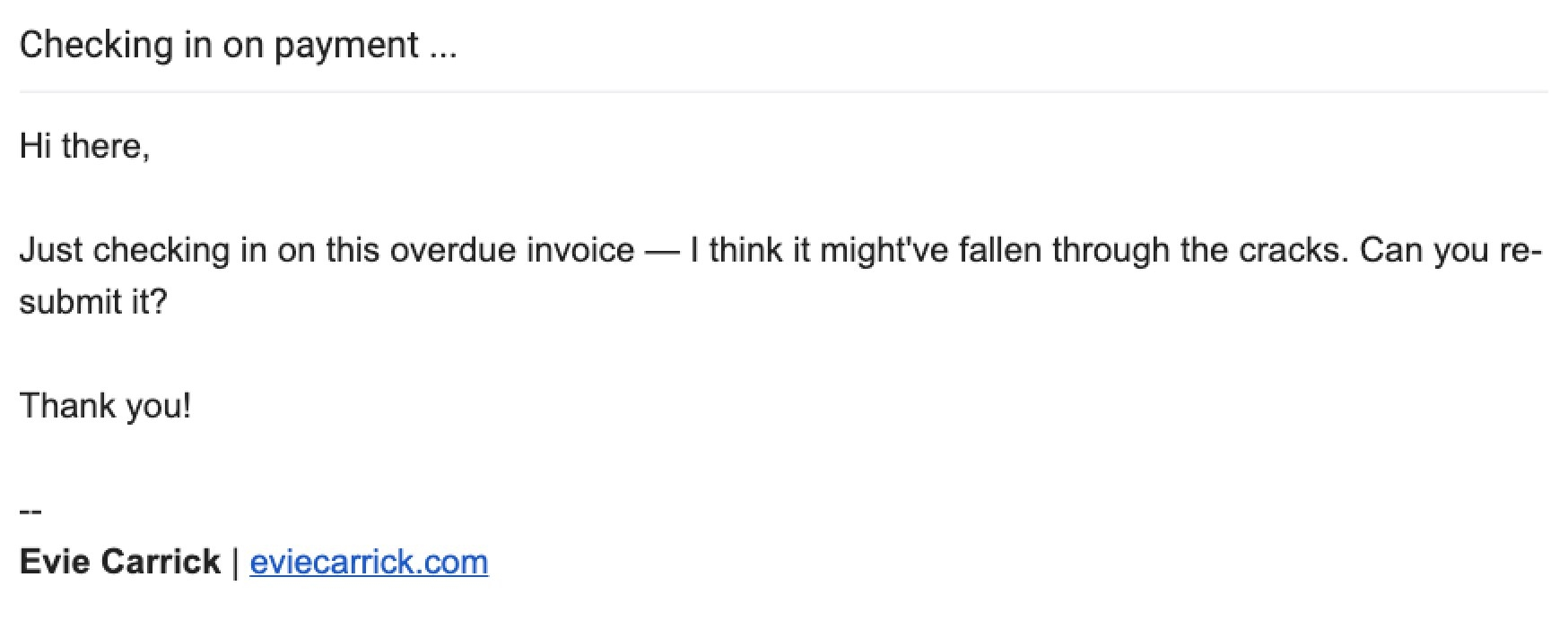 Sample email for an unpaid invoice