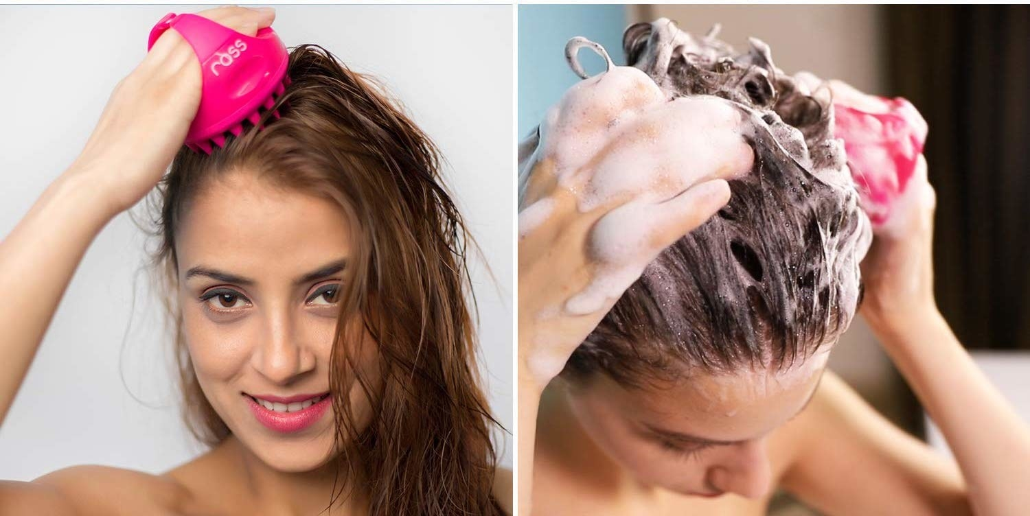 Woman using the brush in two different photos—  on dry and wet hair.