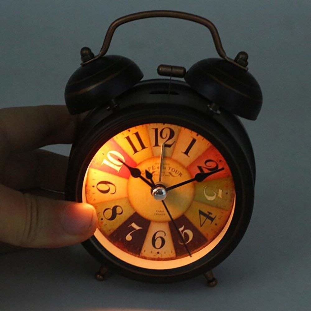 A black alarm clock