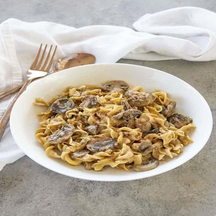 A bowl of mushroom stroganoff.