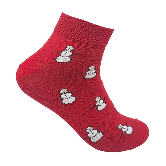 Red socks with a snowman print.