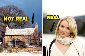 """(left) Iris's cottage from the movie with text """"not real""""; (right) Amanda/Cameron Diaz with an arrow pointing at snow behind her and text """"real"""""""