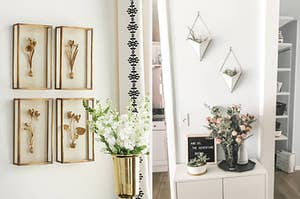 left image: flower wall hangs, right image: succulent ceramic wall hangs