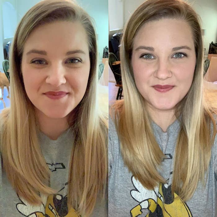 before-and-after reviewer photo using the selfie light