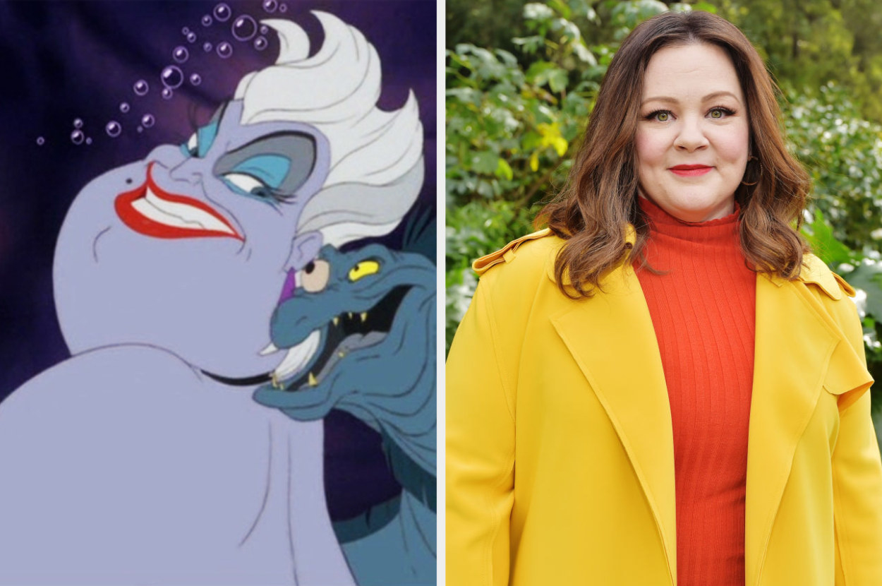 """A still of Ursula from """"The Little Mermaid"""" and a photo of Melissa McCarthy"""